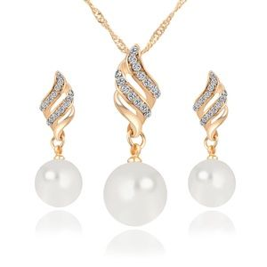 Imitation Pearl Necklace and Earrings Jewelry Set